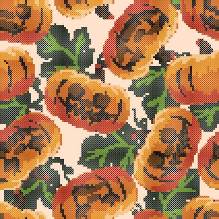 Pattern for embroidering with a cross, a seamless background of leaves with pumpkin. Background for Halloween... Ilustracja