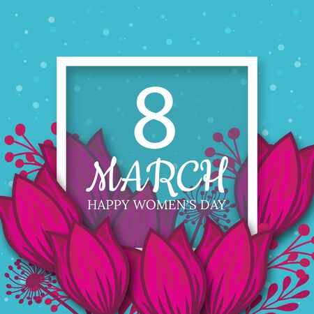 8 March. pink Floral Greeting card. International Happy Womens Day. Paper cut flower blue holiday background with Square Frame and space for text. Trendy Design Template. Vector illustration