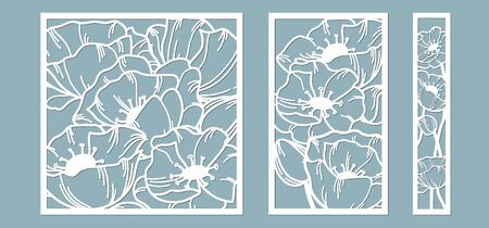 template for laser cutting and Plotter. Flowers, leaves, bouquet for decoration. Vector illustration. poppy flower. plotter and screen printing. serigraphy Ilustracja