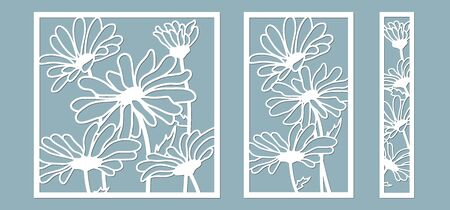 template for laser cutting and Plotter. Flowers, leaves, bouquet for decoration. Vector illustration. Chamomile flower. plotter and screen printing. serigraphy