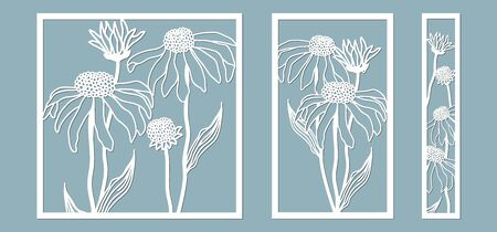 template for laser cutting and Plotter. Flowers, leaves, bouquet for decoration. Vector illustration. echinacea flower. plotter and screen printing. serigraphy Ilustracja