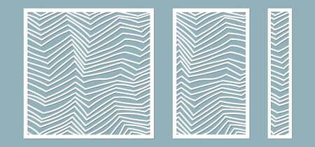 Set, panel for registration of the decorative surfaces. Abstract lines panels. Vector illustration of a laser cutting. Plotter cutting and screen printing