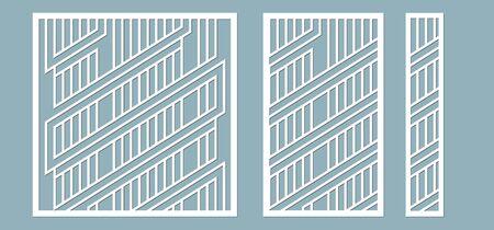 Vector illustration. Decorative panel lines, honeycomb, laser cutting wooden panel
