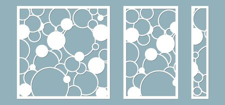 Vector illustration. Decorative panel lines, circles, balls, laser cutting cut wooden panel