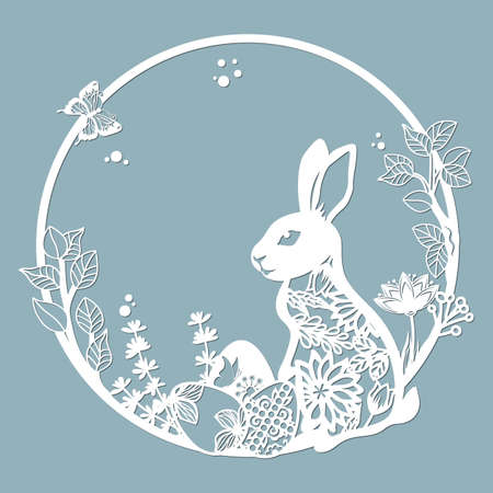rabbit, hare in a round frame, with patterns, flowers, butterflies. Template for laser, plotter cutting, and screen printing. The pattern for the mirrors and panela...