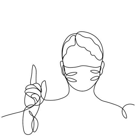 girl in a protective mask, profile portrait drawn in one line. Isolated stock vector illustration Ilustrace