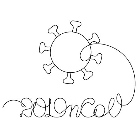 Continuous one line drawing of Covid-19 Coronavirus dangerous disease 2019-nCoV pandemic global warning, vector illustration, minimalist style