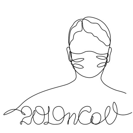 2019nCOV girl in a protective mask, profile portrait drawn in one line. Isolated stock vector illustration