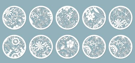 Set. Chamomile, Echinacea, dandelion, chrysanthemum, noble hepatica, stokesia, Lily, leaves, grass. Panel for registration of the decorative surfaces circle, mugs,. Abstract circles, balls Vector illustration of a laser cutting Plotter cutting and screen printing