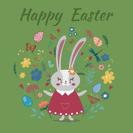 Cute Bunny on the background of flowers, eggs, butterflies. Caption-Happy Easter. Flat stile. Funny Easter rabbit. Иллюстрация