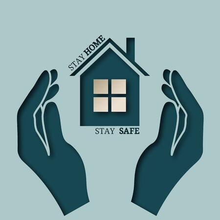 Vector sign, symbol, illustration with house and phrase stay home, stay safe. On his hand. Coronavirus awareness, prevention. Hands, hand Illusztráció