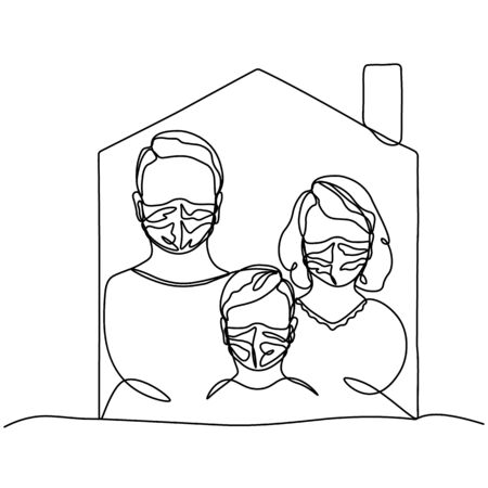 girl, man, child in a protective mask, profile portrait drawn in one line. Family in self-isolation. Isolated stock vector illustration Иллюстрация