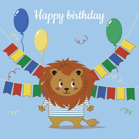 It Says Happy Birthday. Lion with balls and flags. Print for postcards, t-shirts and posters. flat Иллюстрация