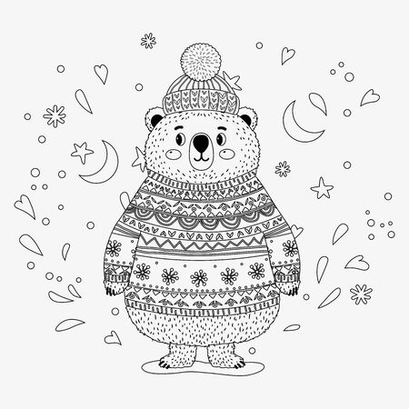 Bear in a sweater and hat. Coloring book for children. Vector isolated illustration. Month, stars, hearts.