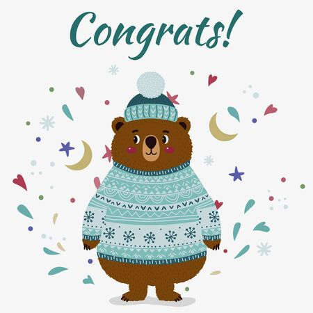 Bear in a sweater and hat. Vector isolated illustration. Month, stars, hearts. Title - congrats Illusztráció