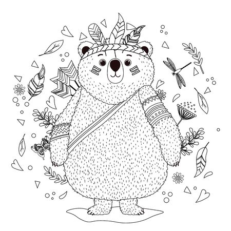 A bear cub in an Indian war hat with feathers. Coloring book for children. Hand drawn ethnic animal for coloring pages, art therapy, boho t-shirt patterned print, t-shirt. Vector isolated illustration.