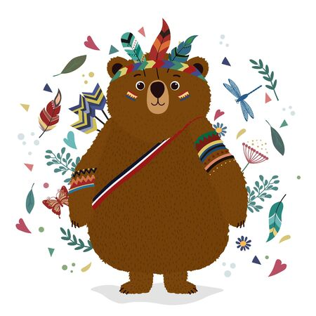 A bear in an Indian costume. Drawing for t-shirts. Print. Cap of feathers, dragonfly, leaves, heart.