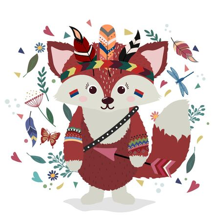 A Fox in an Indian costume. Drawing for t-shirts. Print. Cap of feathers, dragonfly, leaves, heart. Иллюстрация