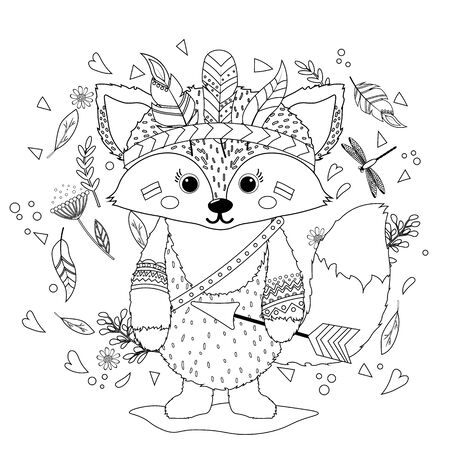 A Fox cub in an Indian war hat with feathers. Coloring book for children. Hand drawn ethnic animal for coloring pages, art therapy, boho t-shirt patterned print, t-shirt. Vector isolated illustration.