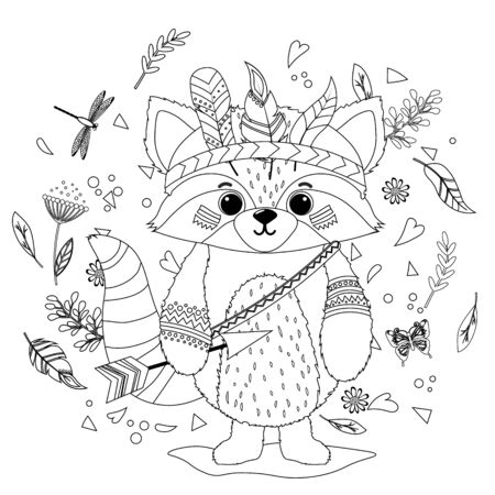 A raccoon in a feathered Indian war hat. Coloring book for children.. Hand drawn ethnic animal for coloring pages, art therapy, boho t-shirt patterned print, t-shirt. Vector isolated illustration. Иллюстрация