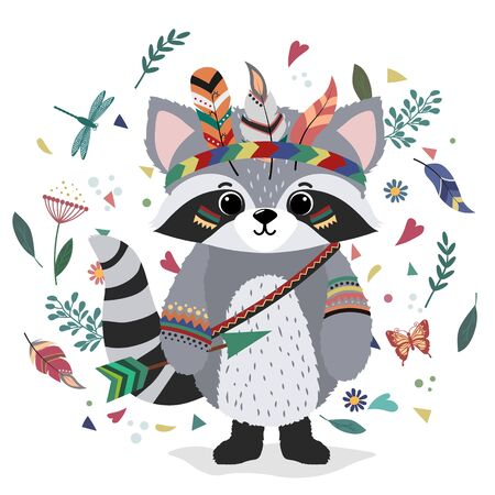A raccoon in an Indian costume. Drawing for t-shirts. Print. Cap of feathers, dragonfly, leaves, heart.