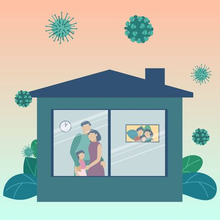 Stay home, Stay safe. Quarantine at home. The family stands and looks out window. The virus is outside. Outbreak Defense. Security measures against virus. Vector illustration.