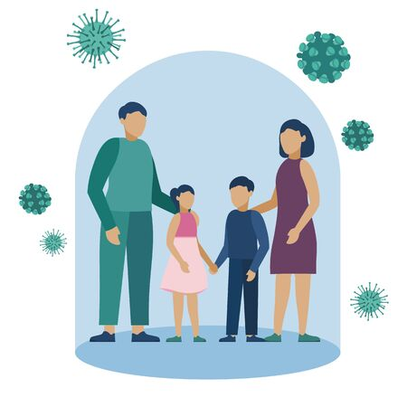 Color vector illustration of quarantine on the background of an outbreak of coronavirus infection Covid-19. Family under a glass bell. Isolated background. Better to stay at home.