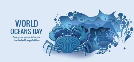 Text - world ocean day. crab. template for making a postcard. vector image for laser cutting and plotter printing. fauna with marine animals.
