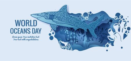 Text - world ocean day. shark. template for making a postcard. vector image for laser cutting and plotter printing. fauna with marine animals.
