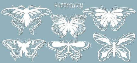 Image with the inscription-butterfly. Set. Template with vector illustration of butterflies. For laser cutting, plotter and silkscreen printing..... 向量圖像