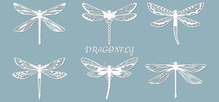 Image with the inscription-draconfly. Set. Template draconfly for laser cutting, plotter and scrapbooking. Production, design and decoration of postcards, as well as crafts made of paper, wood and metal..... Иллюстрация