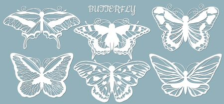 Image with the inscription-butterfly. Set. Butterfly template for laser cutting, plotter and scrapbooking. Production, design and decoration of postcards, as well as crafts made of paper, wood and metal....
