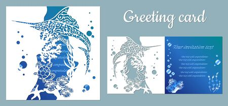 Fish, swordfish, turtle. Fauna with marine animals. Template for making a postcard. Vector image for laser cutting, plotter printing and scrapbooking.... Иллюстрация
