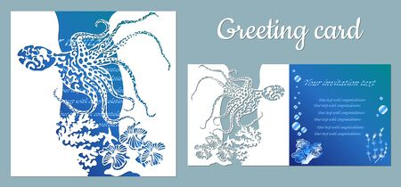 Octopus. Fauna with marine animals. Template for making a postcard. Vector image for laser cutting, plotter printing and scrapbooking....