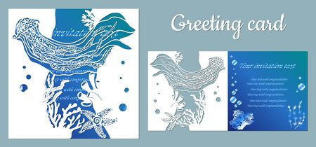 Medusa, starfish.. Fauna with marine animals. Template for making a postcard. Vector image for laser cutting, plotter printing and scrapbooking.... Illusztráció