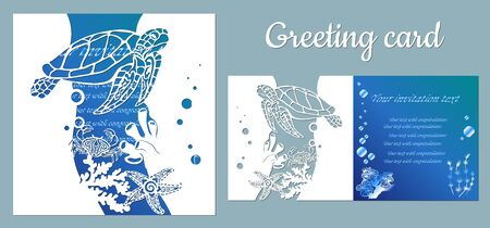 Turtle, starfish, crab. Fauna with marine animals. Template for making a postcard. Vector image for laser cutting, plotter printing and scrapbooking....
