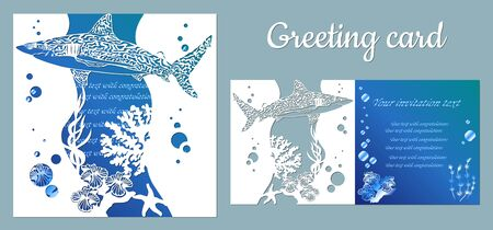 Shark. Fauna with marine animals. Template for making a postcard. Vector image for laser cutting, plotter printing and scrapbooking.... Illusztráció