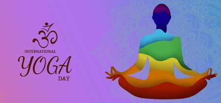 International Yoga Day vector illustration banner, brochure and poster design. June 21st celebrates world yoga day - Vector....