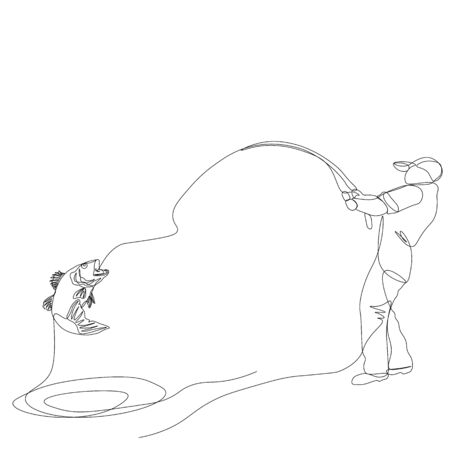 Continuous single drawn one line, fisherman on a fishing trip.... Иллюстрация