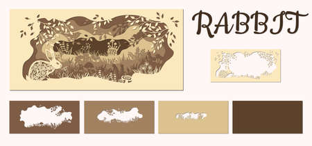 Rabbit. Template hare in a clearing for laser cutting out of paper. Line with mushrooms, grass, and butterflies, wood and flowers. For decoration and design. Template for laser cutting and Plotter. Vector illustration.. Иллюстрация