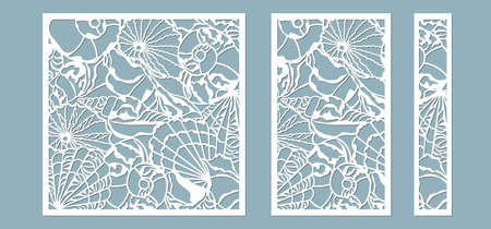 Shells of the sea in the frame. Laser cutting. Craft paper for decoration. Plotter, screen printing..