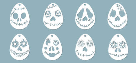Egg pattern for laser cutting. Funny and scary faces for Easter. Plotter cutting...