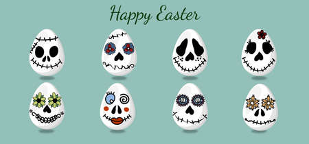 Eggs at Easter, in the form of funny and scary faces. For the decoration of the holiday. Templates...