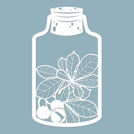 The leaves of chestnut in a glass jar. Laser cut. Vector illustration. Pattern for the laser cut, serigraphy, plotter and screen printing ...