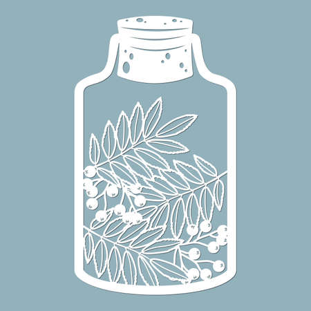 Leaves and berries in a glass jar. Laser cut. Vector illustration. Pattern for the laser cut, scrapbooking, plotter and screen printing.