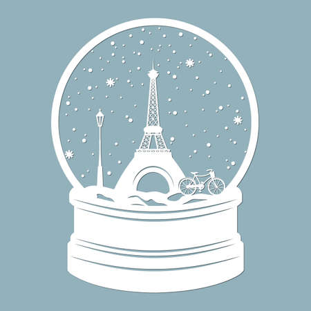 Snow globe of Eiffel tower in Paris. Laser cutting. Vector illustration. Template for laser cutting, plotter and screen printing ...