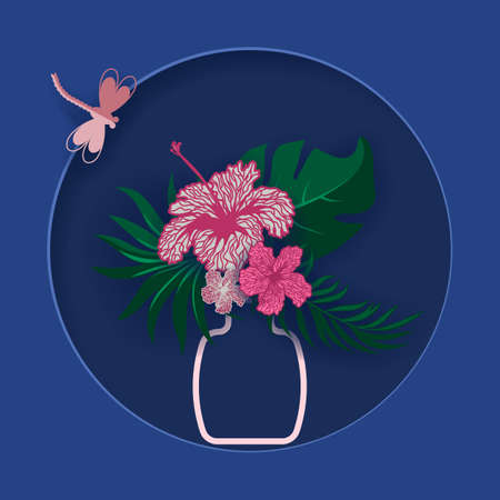 Origami, flowers with butterflies. Hibiscus in a jug. Postcard for the holiday. Design for the holidays ...