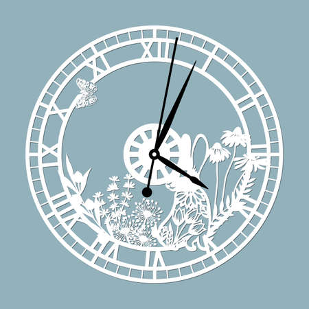 Simple clock face with roman numerals and a hare. Vector template for laser cut. Silhouette of dial isolated on gray background. Floral theme of illustration ..