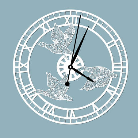 Simple clock face with roman numerals and ducks. Vector template for laser cut. Silhouette of dial isolated on gray background. Floral theme of illustration .. Illusztráció
