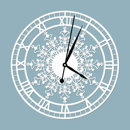 Simple clock face with roman numerals. Vector template for laser cut. Silhouette of dial isolated on gray background. Floral theme of illustration ..